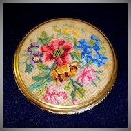 Floral Petit Point Powder Compact