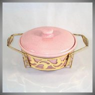 Bauer 1950s Pink Speckled Covered Casserole in Metal Cradle