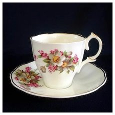 Jason English Bone China Apple Blossoms Lilacs Tea Cup and Saucer