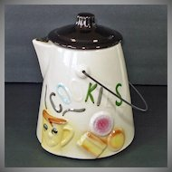 American Bisque Coffee Pot Cookie Jar Metal Handle