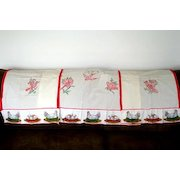 Embroidered Red Birds Kitchen Curtains, 3 Panels