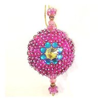 Gorgeous Purple Fancy Beaded Jeweled Vintage Christmas Ornament
