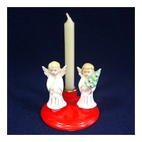 Kriess 1950s Christmas Angels Ceramic Candlestick