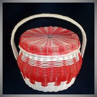 Red and White Woven Plastic Covered Sewing or Hair Curlers Basket