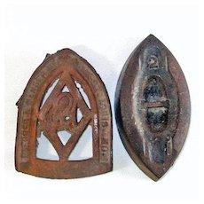 Antique Number 2 Sad Iron and Trivet