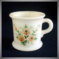 Milk Glass Shaving Mug Hand Painted Flowers