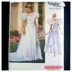 Vogue 1989 Wedding Bridal Dress Sewing Pattern Uncut Size 6-10