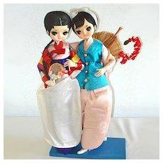 Twin Bradley Big Eyed Oriental Asian Girl Boudoir Dolls