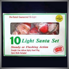 Santa Claus Faces Christmas Tree Light Set in Original Box