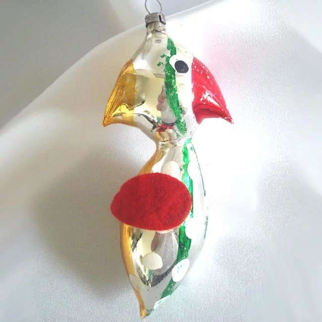 Comical Czech Free Blown Glass Bird Christmas Ornament ...