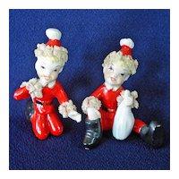 Skinny Santa Elf Christmas Figurines Stiffened Lace