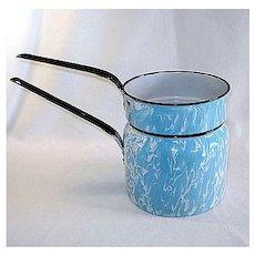 Blue Swirl Graniteware Enamel Double Boiler