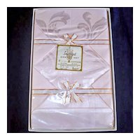 1950s Pink Damask Tablecloth and Napkins Set Mint in Box