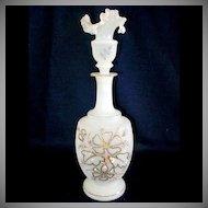 Bristol Glass Enameled Ruffled Top Perfume or Dresser Bottle