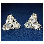 Rhinestone Curved Triangle Shape Earrings