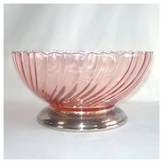 Rosaline Pink Swirl Salad or Serving Bowl Silverplate Base