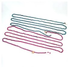 2 Mercury Glass Christmas Bead Garlands Blue, Magenta Pink