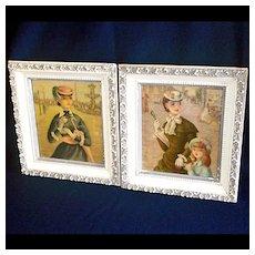 2 Paris Pretty Girl Street Scene Framed Art Prints