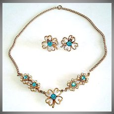Blue Rhinestone Clover Flower Necklace Earrings Demi Parure