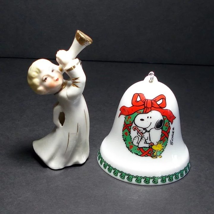 12 ceramic christmas ornaments bells figures dogs angels more - Ceramic Christmas Ornaments