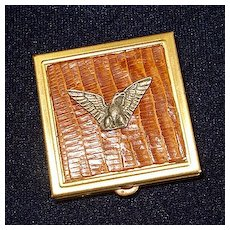 Brass Pill Box Metal Duck on Faux Alligator Skin