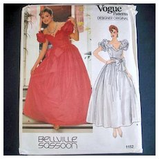 Vogue Bellville Sassoon Formal or Bridal Dress Sewing Pattern Uncut Size 6