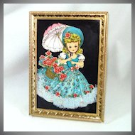 1960s Paper Art Framed Parasol Girl Sequin Lace Picture