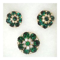 Green and Clear Rhinestone Round Flower Brooch and Earrings Set