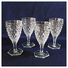 Fostoria American Set 4 Hex Foot Water Goblets