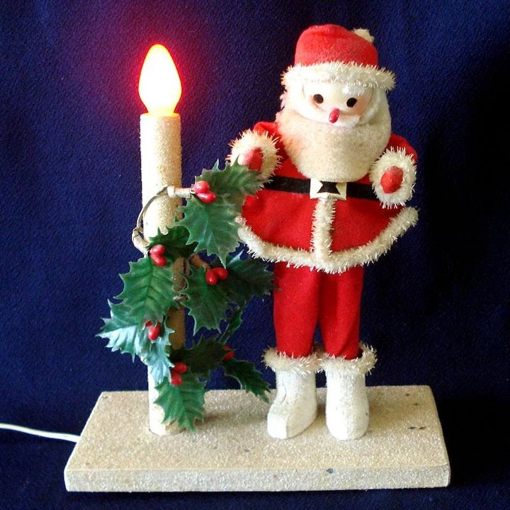 Electric Lighted Christmas Candle Santa Claus Display 1960s ...