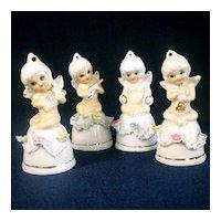 Bone China Cherub Bell Figurines, Set of 4