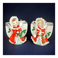 Pair Japan Christmas Angel Planter Vases