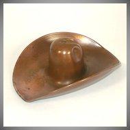 Solid Copper Cowboy Hat Ashtray