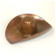 Solid Copper Cowboy Hat Ashtray