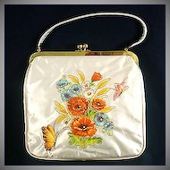 JR Florida Vinyl Covered Applique Flower Purse Mint