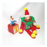 Clowns on Blocks 1970s Wood Christmas Ornaments