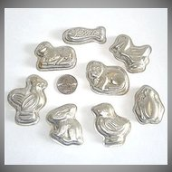 Set 8 West German Tin Chocolate Molds Animals