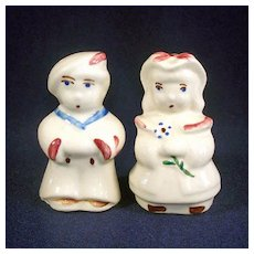 Shawnee Boy Blue and Bo Peep Salt and Pepper Shakers With Label