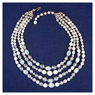 Four Strand 1950s Glass Bead Necklace Clear White Clambroth