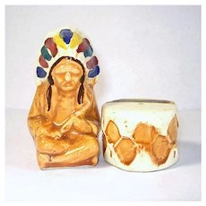 Indian Chief and Drum Pottery Salt and Pepper Shakers