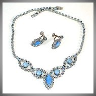 Beautiful Blue Rhinestone and Moonglow Necklace Earrings Set