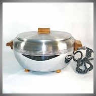 Buffet Chef 1940s Chrome With Oak Trim Electric Food Server Warmer Cooker