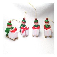 Sledding Santa's Elves 1970s Wooden Christmas Ornaments
