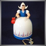 Erzgebirge Germany Wooden Dutch Girl Coin Bank With Key