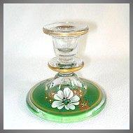 1930s Indiana Glass Candlestick Enamel Dogwood Decoration