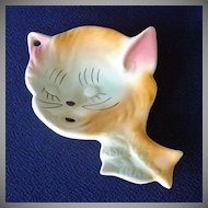 1960s Ceramic Kitty Cat Face Spoon Rest