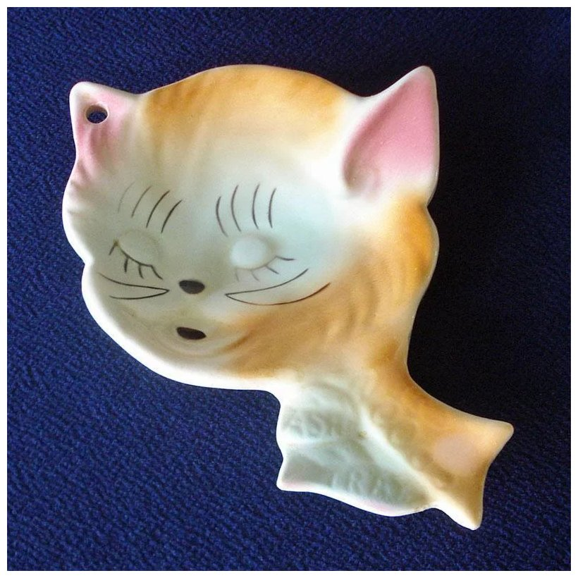 Handpainted girly cat face on porcelain spoon rest