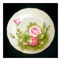 Lefton Heritage Green Rose Salad Plate