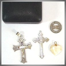 Sterling Silver and Abalone Inlay Cross Pendants With Mother of Pearl Heart