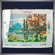 Autumn Landscape DMC French Needlepoint Canvas to Stitch